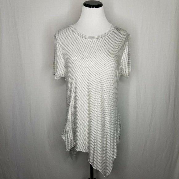 Elan Tops - Elan Gray White Asymmetrical Hem Striped Tee